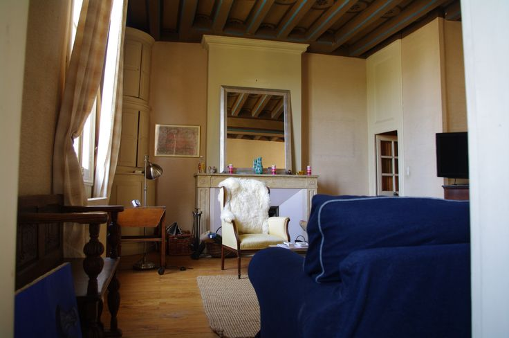 Salon cosy à Lavardin avec vue sur le château