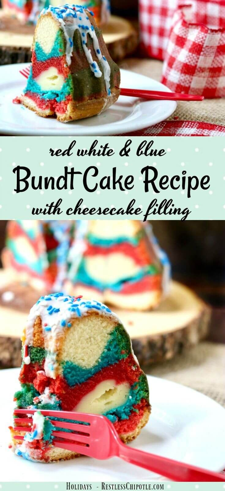 Perfect for summer holidays, this tangy red white & blue bundt cake recipe is sweet and delicious with a tunnel of cheesecake filling right through the center. So easy and definitely  memorable! #SundaySupper From RestlessChipotle.com via @Marye at Restless Chipotle