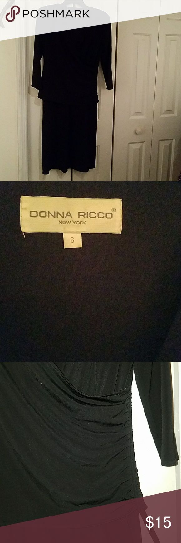 Donna Ricco Black Ruched Dress Says size 6 but could fit a larger size depending on your proportions - see measurements. Has adjustable ruching with string on right side. Donna Ricco Dresses