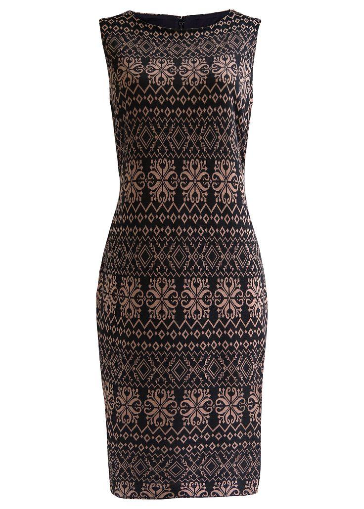 Vestido tubinho de malha premium preto/camelo encomendar agora na loja on-line bonprix.de  R$ 199,00 a partir de Vestido com modelagem marcada, sem mangas, ...