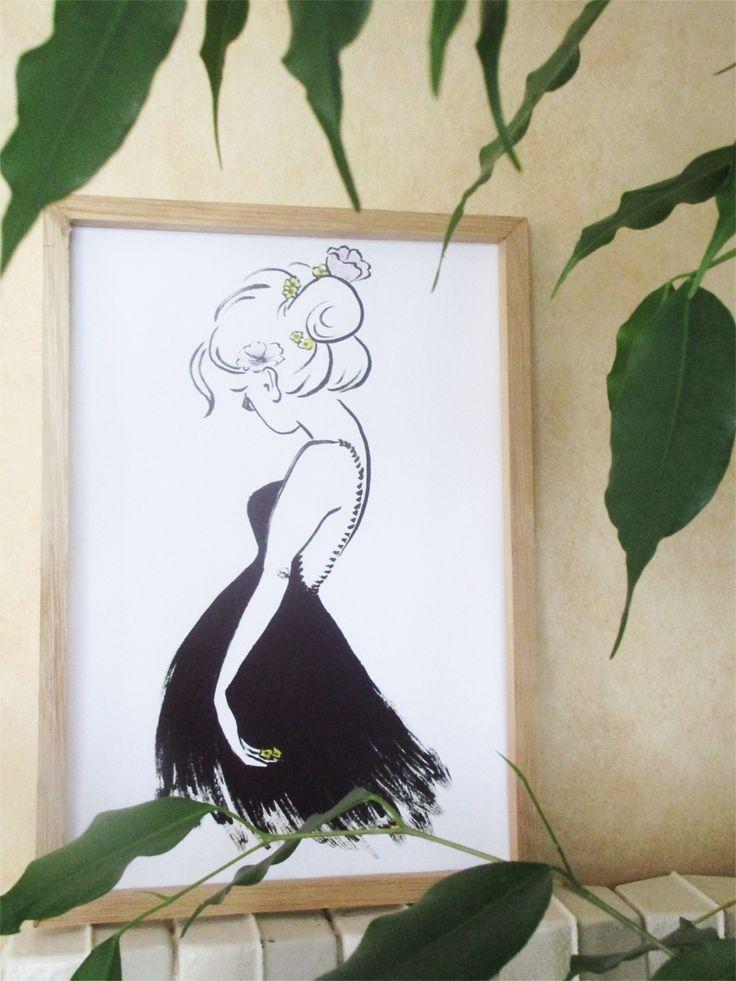 Fleurs Sauvages.  Illustration originae réalisée à l'encre de chine et pastels. Quelques fleurs pour traverser l'automne. Impression A4 disponible sur la boutique, Cliquez vite !