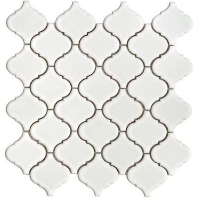 Merola Tile Lantern 12-1/2 in. x 12-1/2 in. White Porcelain Mesh-Mounted Mosaic Tile