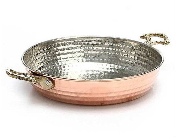 Copper Pan / Hammered Copper Pan /red copper cookware/Cooking Pots by craftartculture on Etsy