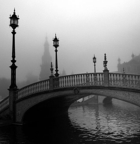 Can you hear footsteps echoing in the shadows?  (Plaza Espana, Sevilla, Spain)