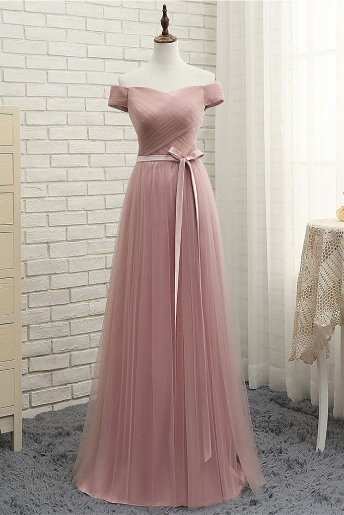simple sweetheart tulle long prom dress, tulle bridesmaid