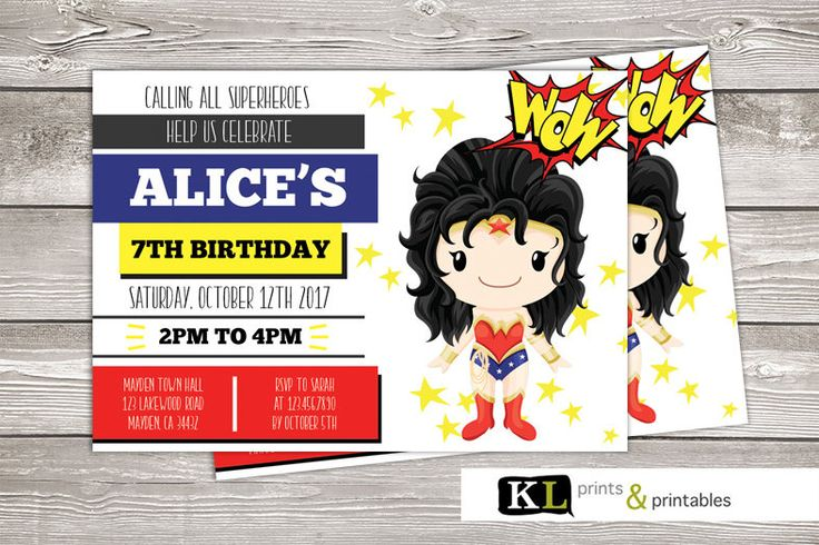 Wonder Woman Birthday Invitation, superhero invite, Wonderwoman Invite, Digital Invitation,  super hero party, Wonder woman invite, invite by KLprintsandprintable on Etsy