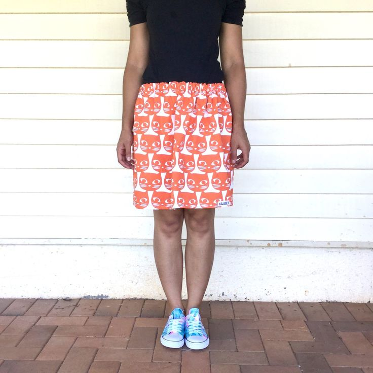 Ladies orange kitty cat skirt from Kablooie Store - bold, colourful, quirky fashion for ladies! Be fabulous!!
