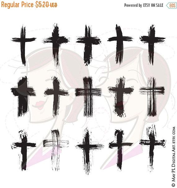SALE Brush Christian Crosses Catholic Faith Brushstroke Paintstroke Rustic Grunge VECTOR Clipart DIY Sympathy Wedding Card Scrapbook Craft 1