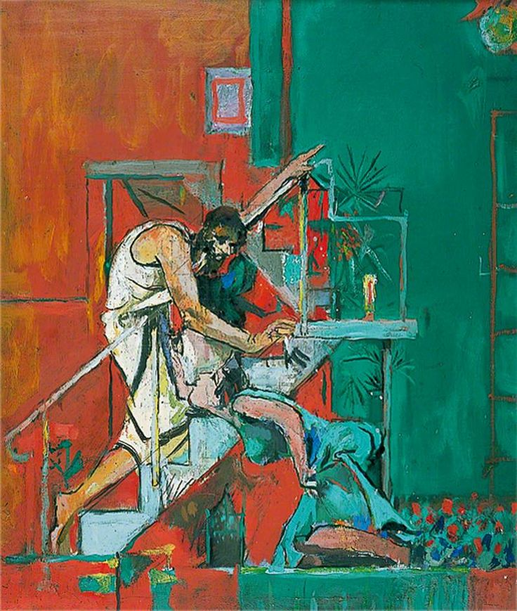 Christ Appearing to Mary Magdalene (Noli me Tangere) by Graham Sutherland (1961). One of two altarpiece paintings commissioned for Chichester Cathedral. This one shows Christ bareheaded, without a gardener's hat.