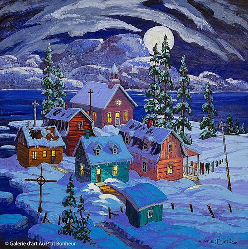 Vladimir Horik, 'Sur la côte nord du fleuve', 24'' x 24''   Galerie d'art - Au P'tit Bonheur - Art Gallery