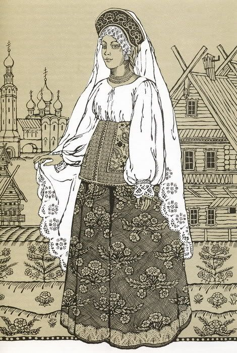 Traditional costume from the city of Tver, Russia. #Russian #costume #illustrations
