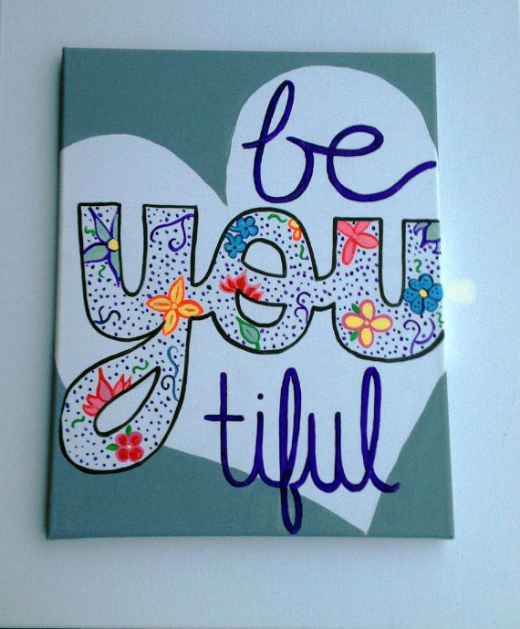 BeYOUtiful Canvas painting Beyoutiful sign Heart by EnglishBliss