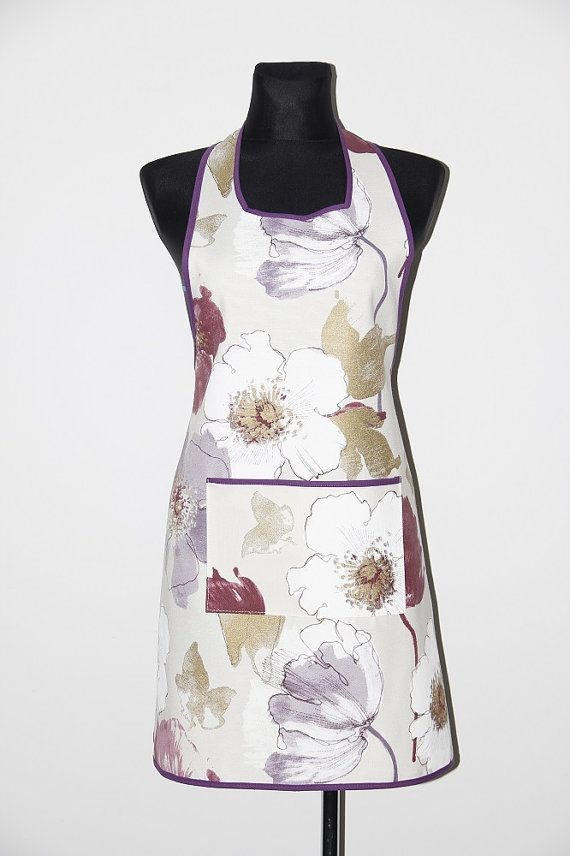 Handmade apron, kitchen apron. Violet flowers apron. Purple flowers apron. Flowers apron. Pinafore