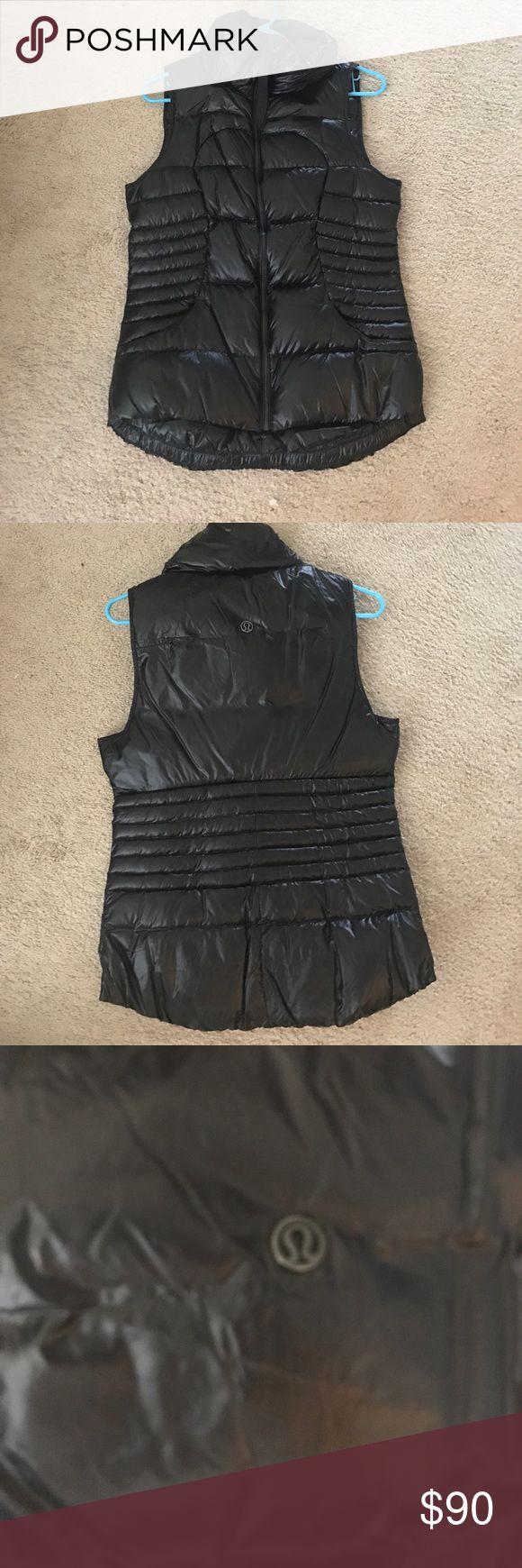 Lululemon vest size 8 Lululemon down vest. Shiny black color. Super lightweight and folds really small, but super warm! Worn once. lululemon athletica Jackets & Coats Vests