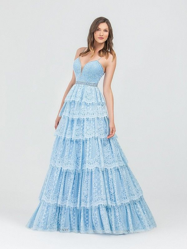 c0c0cb5753b Val Stefani 3488RD is a modern day Cinderella gown. It s sky blue color and  lace layered a-line gown will have you feeling like a fairy tale princess.