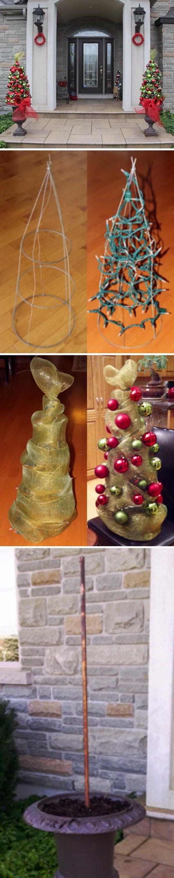 DIY Tomato Cage Christmas Tree Topiary.