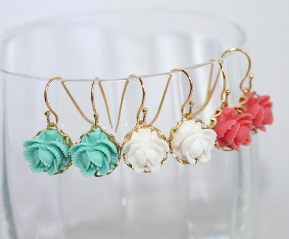 Bridesmaid gifts, Set of 3, Little Rose Gold laced earrings, Coral-pink White Mint-teal, Bridesmaids favors, Wedding -Bridesmaid gift idea