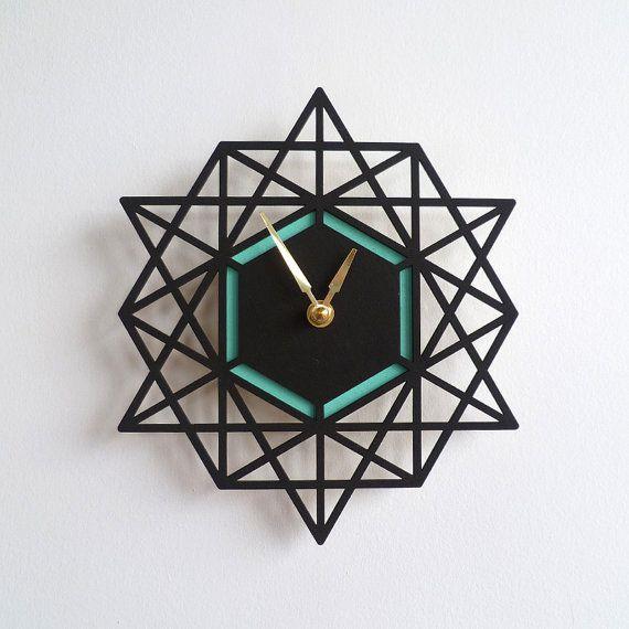 Pared moderna geométrica dos tono colorido reloj por decoylab