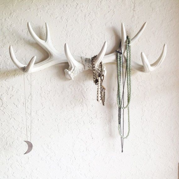 ANY COLOR or WHITE Faux Antlers Wall Mount // Rustic Wall Hook // Deer Antler Wall Hook // Faux Taxidermy Wall Decor // Jewelry Holder by KINGFOUR on Etsy https://www.etsy.com/listing/191519841/any-color-or-white-faux-antlers-wall