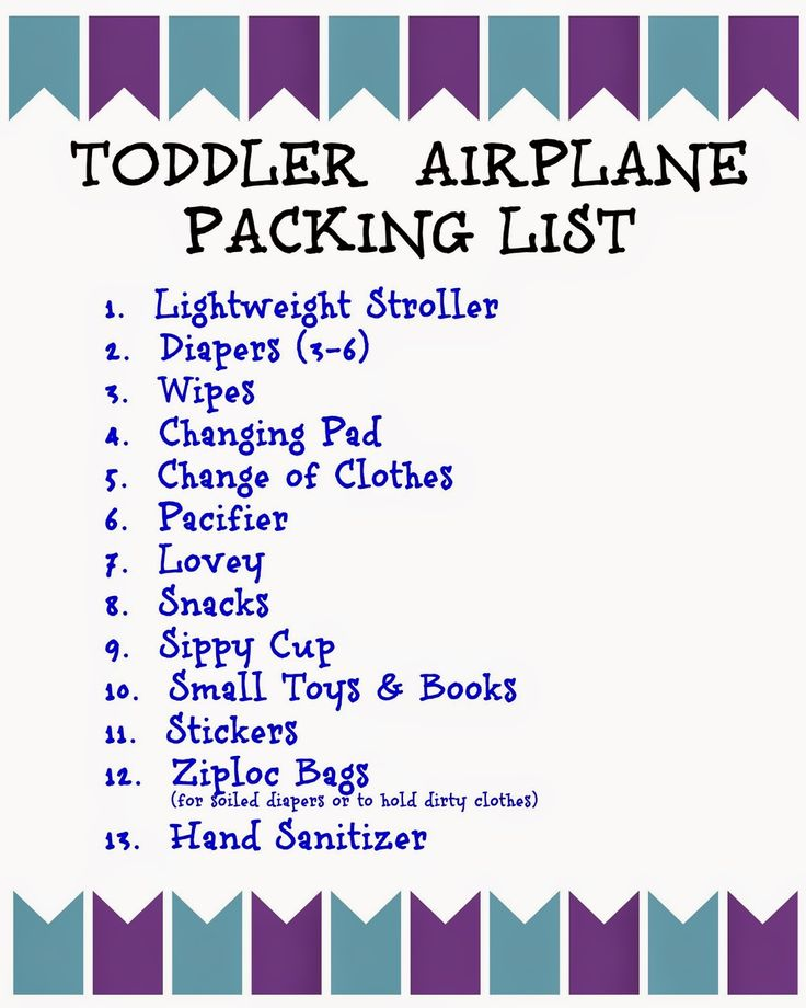 Free Printable Toddler Airplane Packing List