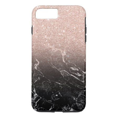 Modern rose gold ombre black marble color block iPhone 7 plus case - click/tap to personalize and buy