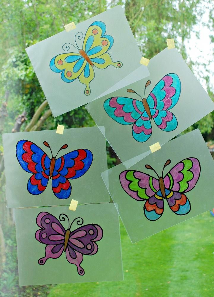 Butterfly Suncatchers Made By Tracing Over Colouring Pages Onto Laminating Pouches Hobbiesforkid Kindergarten Crafts Hobbies For Kids Arts And Crafts For Kids