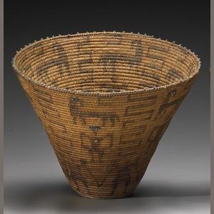 "A Pima beaded basket 15"" tall x 20"" wide  Bonhams auction  Native American Indian"