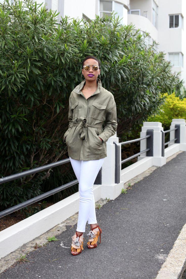 Khaki & White: Jacket - Witchery, Denims - ZARA, Fringe Sandals - ZARA, Sunglasses - Dior #witchery #ZARA #Dior