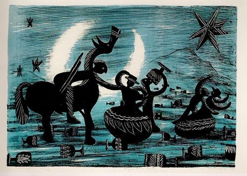 Después de la fiesta. Litografía. Nemesio Antúnez, 1954.  archivonuestro.cl  http://patrimonioculturaldechile.cl/nuestro/notas/rescate/img/libros_entel/estampa2/estampa_grabado18.htm#