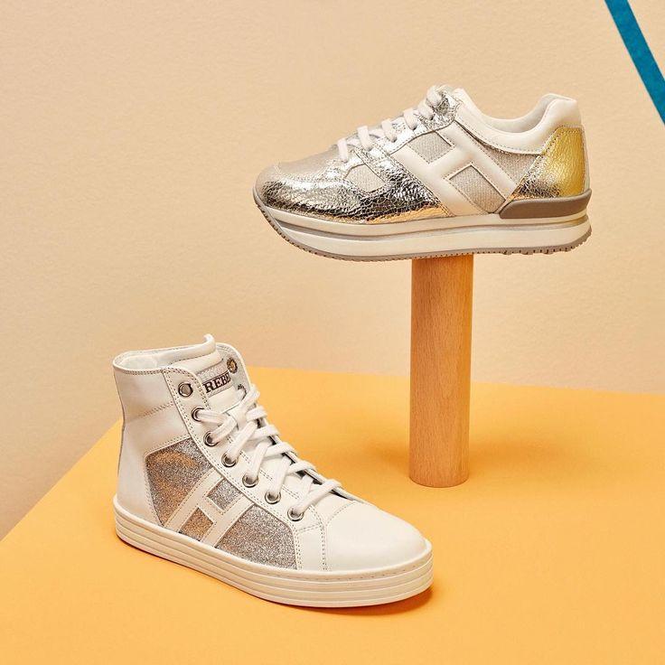 The #HoganJunior #R141 Hi Top and #H222 #sneakers for urban kids