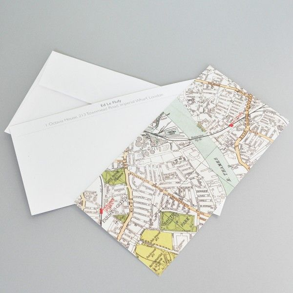 Correspondence cards with a map of your area on the front