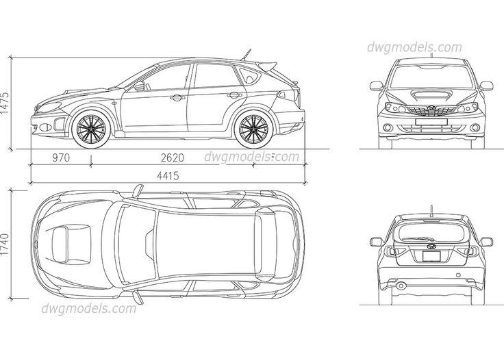 Subaru Impreza (2007) dwg, CAD Blocks, free download