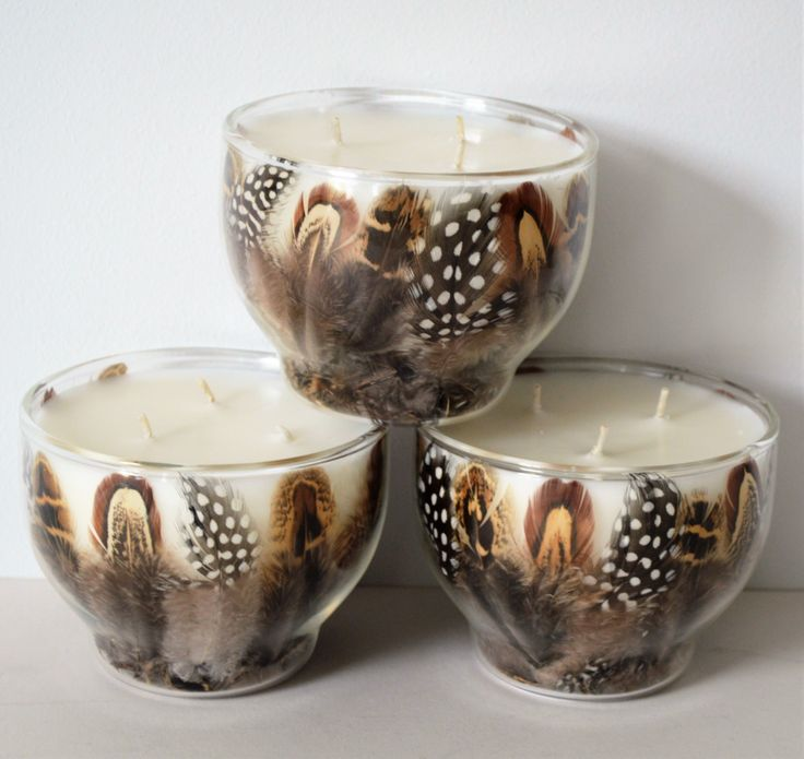 3 feather scented candles