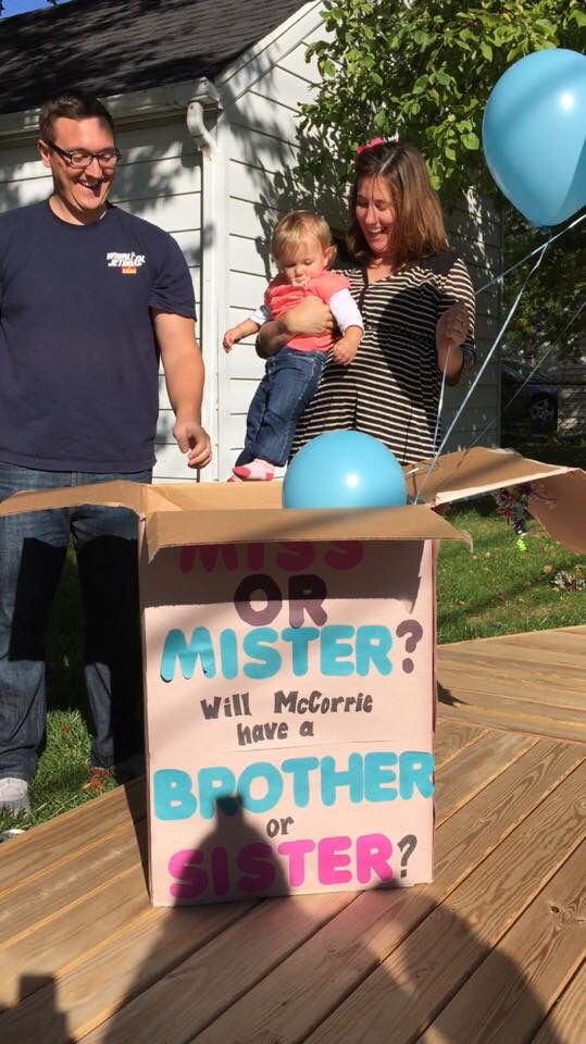 sibling and baby photo ideas - Gender Reveal miss or mister brother or sister with