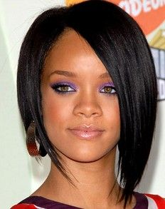 Rihanna with Asymmetric Bob Short Hairstyle