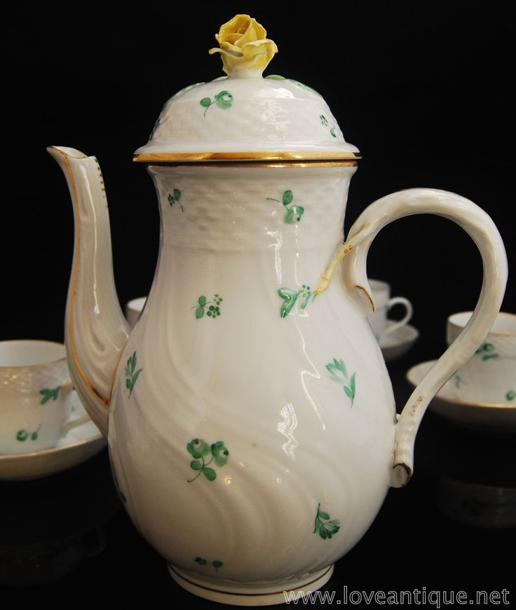 early 20th century Herend porcelain coffee pot painted with scattered flowers in green by LoveEnglishAntique on Etsy