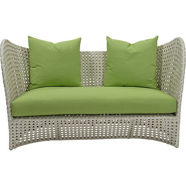 """Beach 60"""" Sunbrella Loveseat Green Acrylic / Lucite Outdoor Sofas &... ($2,999) ❤ liked on Polyvore featuring home, outdoors, patio furniture, modern outdoor furniture, modern patio furniture, modern loveseat, modern outdoor sofa and modern love seat"""