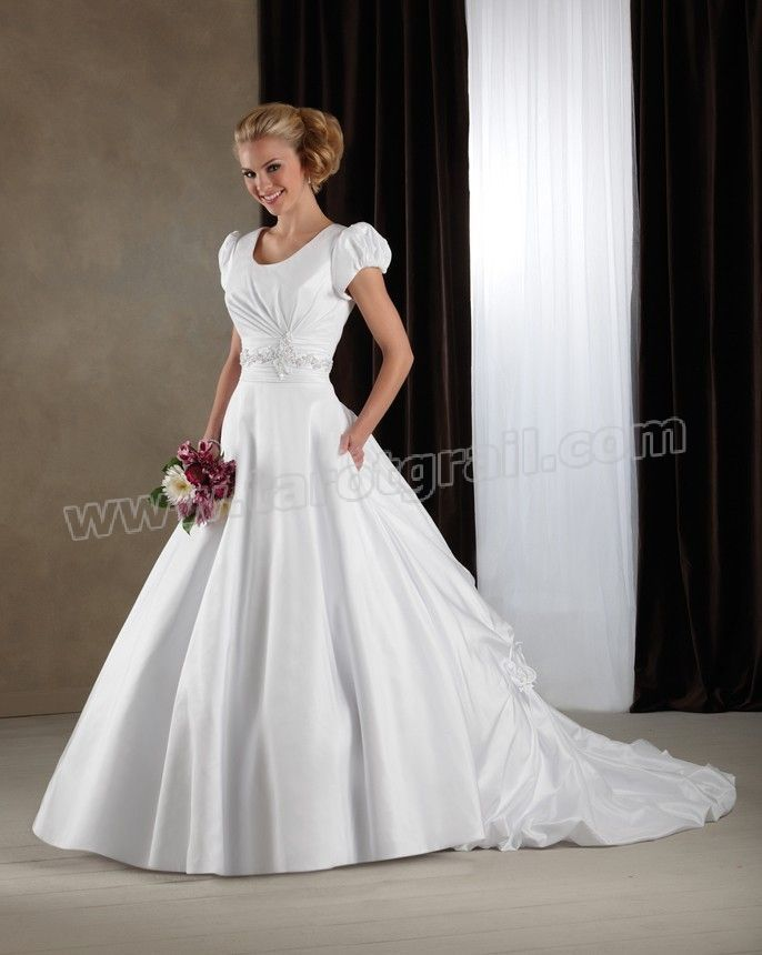 Scoop Neckline Cap Sleeves Embroidered Bodice Wedding Dress