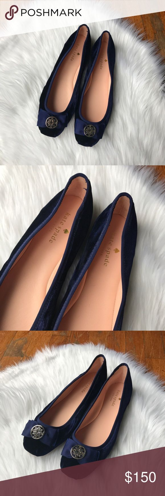 Kate Spade Velvet Medallion Ballet Flats Gorgeous velvet ballet flats by Kate Spade in a dark midnight blue. Spade medallions at the fronts and lightly squared toes mimic real pointe shoes. Leather soles. kate spade Shoes Flats & Loafers