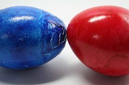 """In Bulgaria, Easter is egg-fight day. Hard boiled eggs are painted and used for """"egg jarping"""" where people tap their egg against an opponent's. The last one to survive wins and their egg is displayed prominently throughout the Easter celebrations. Find more obscure Easter traditions by clicking the picture.  #easter #eastertraditions #eggfighting #bulgaria"""