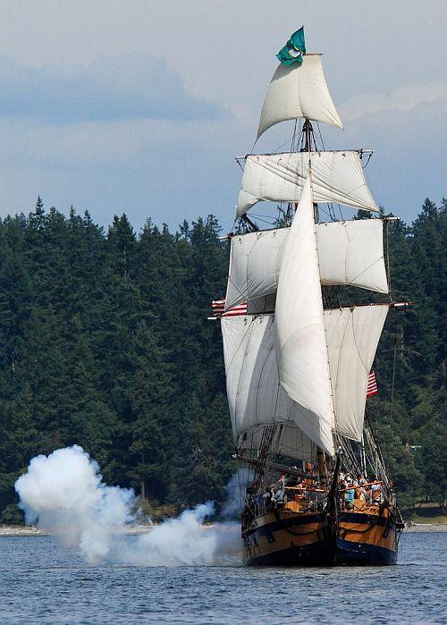 Hawaiian Chieftain fires her three-pounder