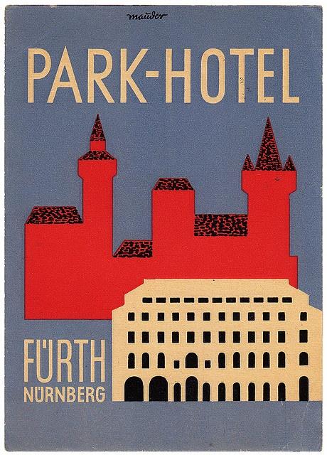 Park-Hotel Fürth Nuremberg vintage luggage label