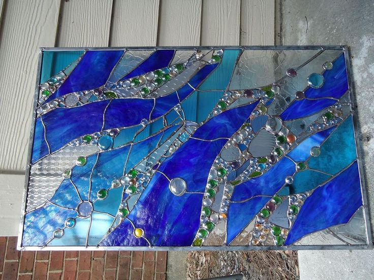 Abstract Stained Gl Transom Panel Window Suncatcher Divider Nuggets Ooak