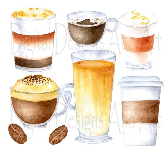 Coffee Clipart Watercolor Coffee Clip Art Coffee Cups Clipart