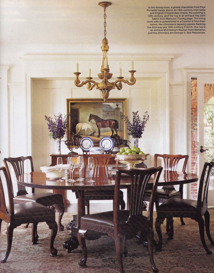 In This Dining Room, Designer Kerry Joyce Placed English Chippendale Dining  Chairs Around An 18th