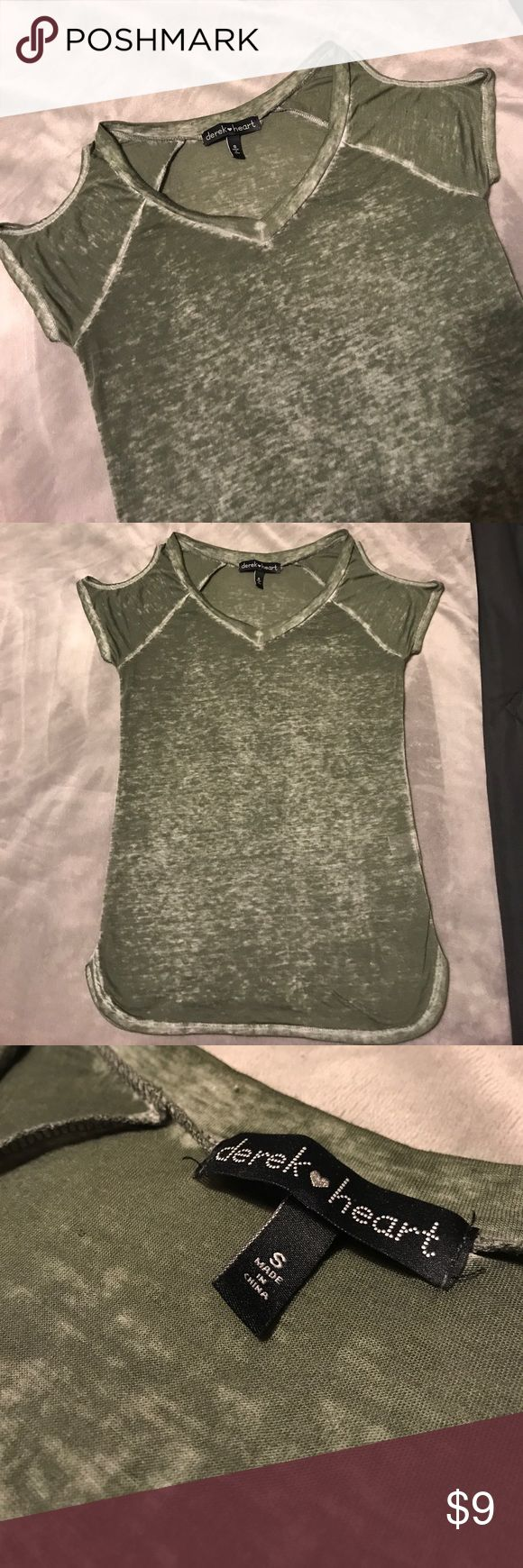 Derek Heart cold shoulder burnout shirt Great condition!!! Olive green in color. Super soft material...slightly sheer. Comes from smoke free, pet free home. Shipping days are Tuesday through Friday. Derek Heart Tops Tees - Short Sleeve