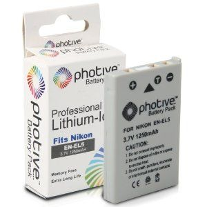 Photive Original EN-EL5 Ultra High Capacity Li-ion Battery- Nikon EN-EL5 Replacement by Photive. $9.95. The Photive EN-EL5 Rechargeable Lithium-ion Battery Pack has a capacity of 1250mAh, making it possible to shoot many photographs with your Nikon Coolpix P-100, P500, P5000, P5100, P6000, P80, P90 digital cameras on a single battery charge. The battery is also compact and lightweight. There is no memory effect, so you can recharge partially drained batteries wit...