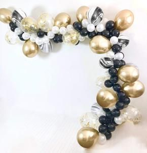 Gold and White Balloons, 70 pcs Black Balloons White Balloons Black Marble Balloons Gold Metallic Balloons Gold Confetti Balloons for Great Gatsby Party, Hollywood Party, Oscar Decorations