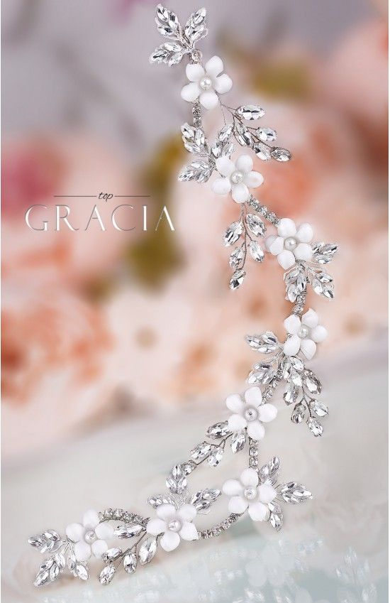 DEMETRA Crystal Flower Bridal Hair Piece. Pretty