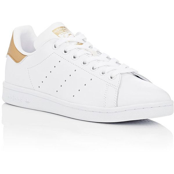 adidas Women's Women's Stan Smith Leather Sneakers ($80) ❤ liked on Polyvore featuring shoes, sneakers, leather shoes, adidas trainers, adidas sneakers, low profile sneakers and leather lace up shoes